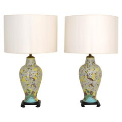 Pair of Asian Inspired Polychrome Porcelain Table Lamps