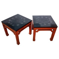Pair of Carved Soapstone and Red Lacquer Tables