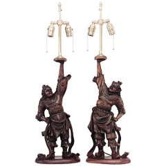 Pair of Asian Japanese (19th Century) Teak Carved Samurai Figures Lamps