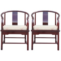Pair of Asian Michael Taylor for Baker Style Horseshoe Lounge Chairs in Cream