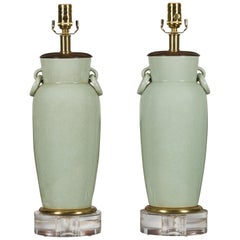 Pair of Asian Midcentury Celadon Table Lamps Made of Urns Mounted on Lucite