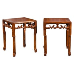 Pair of Asian Midcentury Mahogany Side Tables with Scrolling Fretwork Motifs