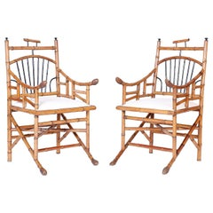 Pair of Asian Modern Bamboo Armchairs
