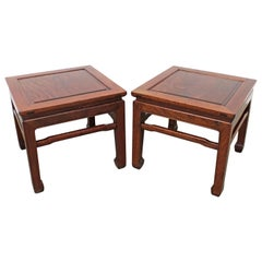 Pair of Asian Modern Rosewood Square End Tables