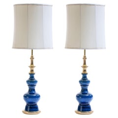 Pair of  1960s Blue Ceramic and Brass Stiffel Lamps in Asian Modern Style