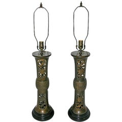Pair of Asian-Motif Bronze Table Lamps