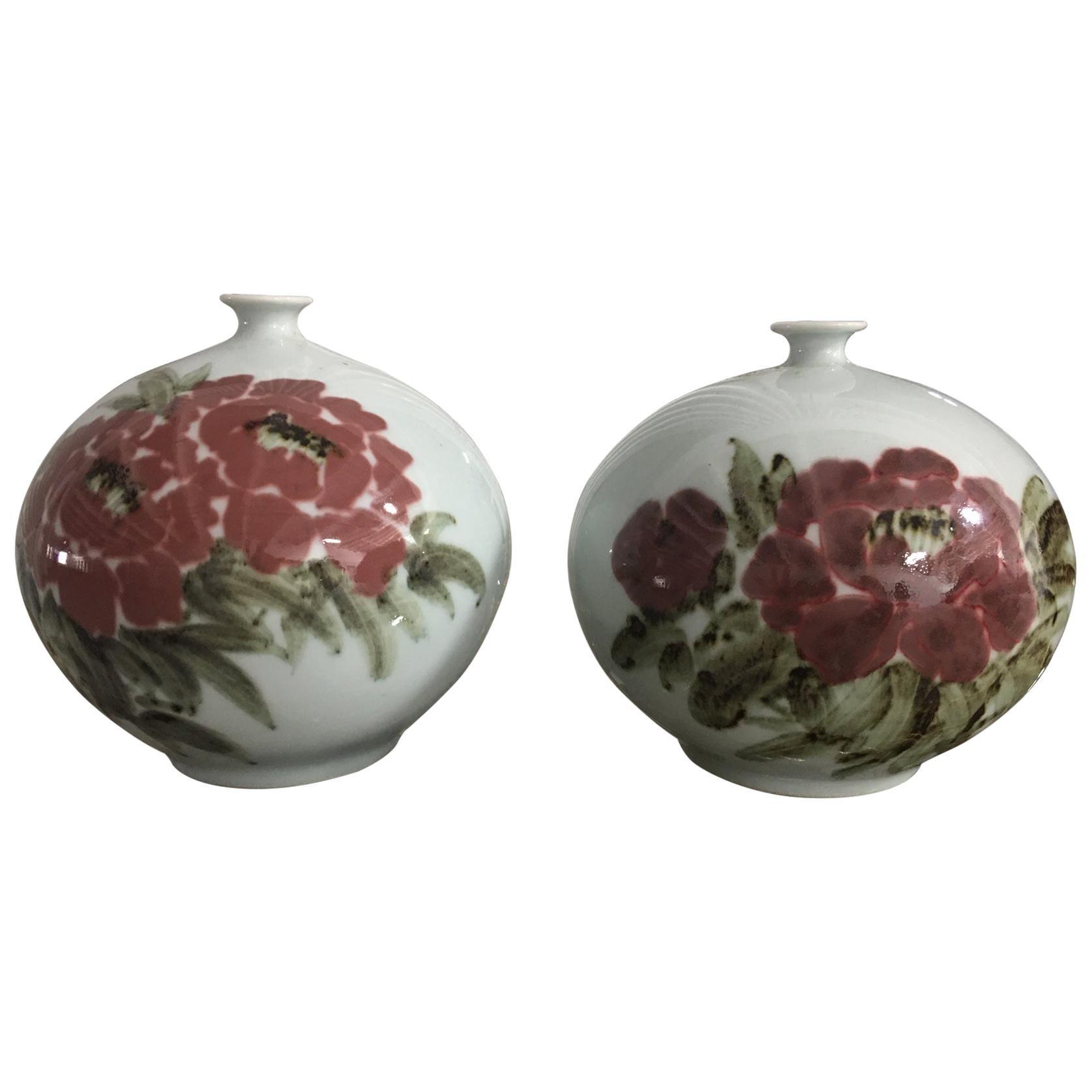 Pair of Asian Motif Bud Vases, 20th Century