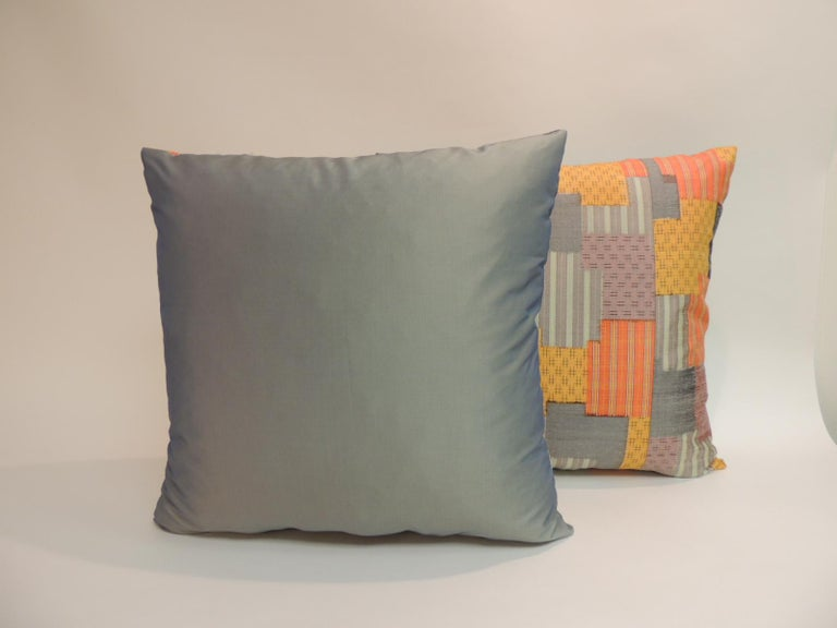 Japonisme Pair of Asian Patchwork Style Printed Silk Pillows with Green Silk Backings For Sale