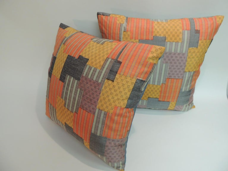 Hand-Crafted Pair of Asian Patchwork Style Printed Silk Pillows with Green Silk Backings For Sale