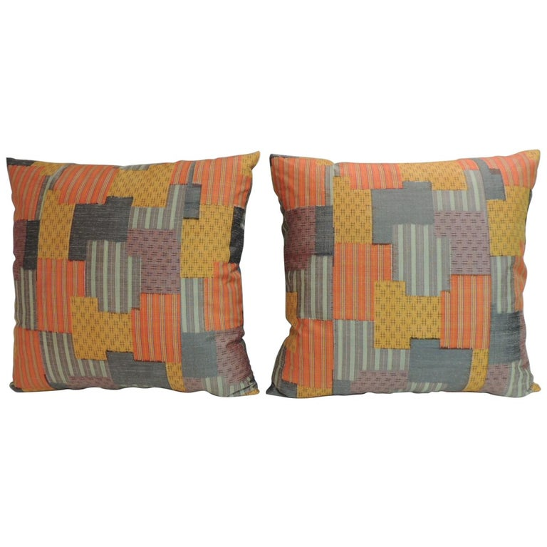 Pair of Asian Patchwork Style Printed Silk Pillows with Green Silk Backings For Sale