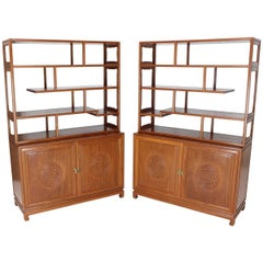 Pair of Asian Solid Teak Étagères Double Carved Doors Cabinets