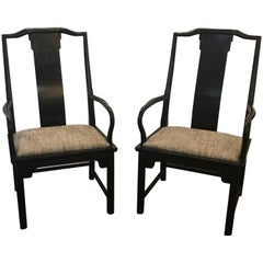 Pair of Asian Style Accent Armchairs