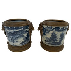 Pair of Asian Style Blue and White Flower Pots Cachepots with Bronze Decoration