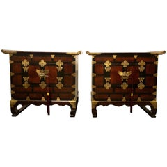 Pair of Asian Style Campaign Chests, Tables or Nightstands in Ming Design