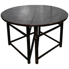 Pair of Asian Style Demilune Black Lacquer Tables