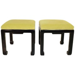 Pair of Asian Style Stools with Embossed Greek Key Pattern Fabric