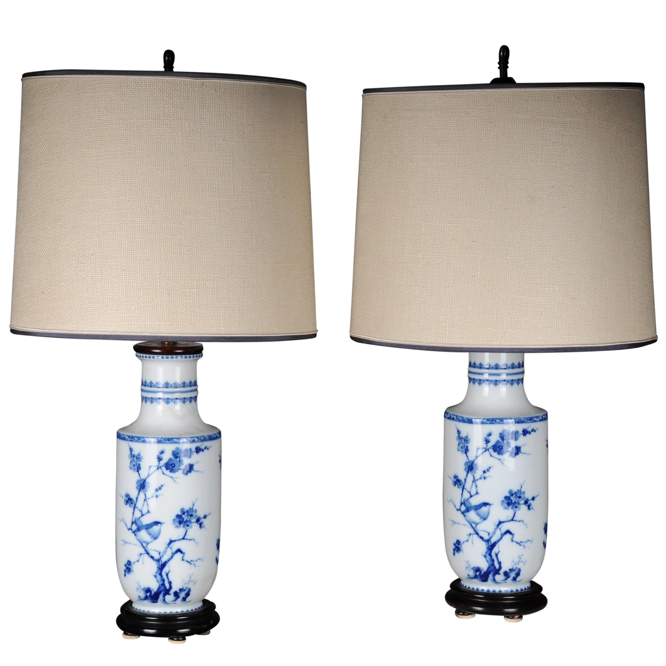 Pair of Asian Table Lamps or Table Lamps, Porcelain, 20th Century Asian Art