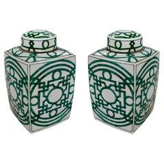 Pair of Asian White Glazed Porcelain Urns w/ Green Geometric Decorations & Lids