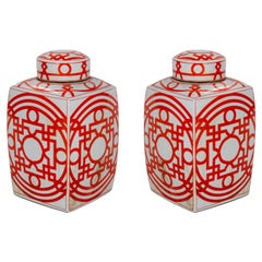 Pair of Asian White Glazed Porcelain Urns w/ Red Geometric Decorations & Lids