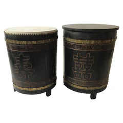 Pair of Asian Wood Drum Tables