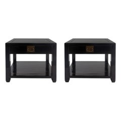 Pair of Asian Style End Tables with Drawer