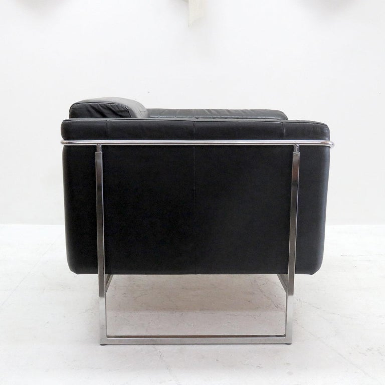 Finnish Pair of Asko 'Classio' Leather Chairs, Model 8283 For Sale