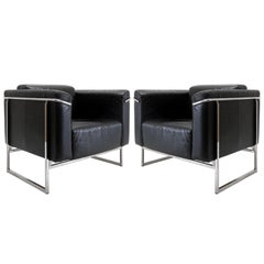 Pair of Asko 'Classio' Leather Chairs, Model 8283