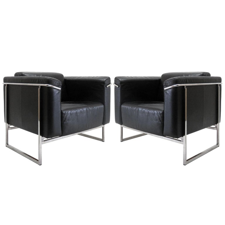Pair of Asko 'Classio' Leather Chairs, Model 8283 For Sale