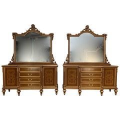 Pair of Asnaghi Inlaid Marquetry Breakfront Cabinets Commodes with Mirrors
