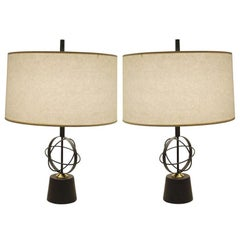 Pair of Astrolabe Form Midcentury Table Lamps