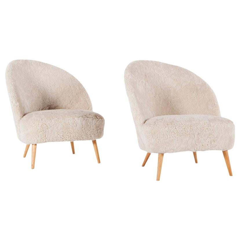 Pair of Asymmetric Chairs Attributed to Arne Norell