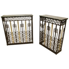 Pair of Asymmetric Consoles in Wrought Iron Art Deco Period, Attributed to Raymo
