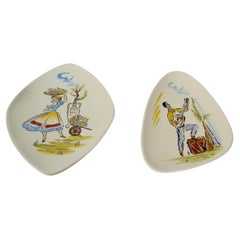 Pair of Asymmetric Kitsch Mediterranean Motif Porcelain Wall Plates, WG 1962