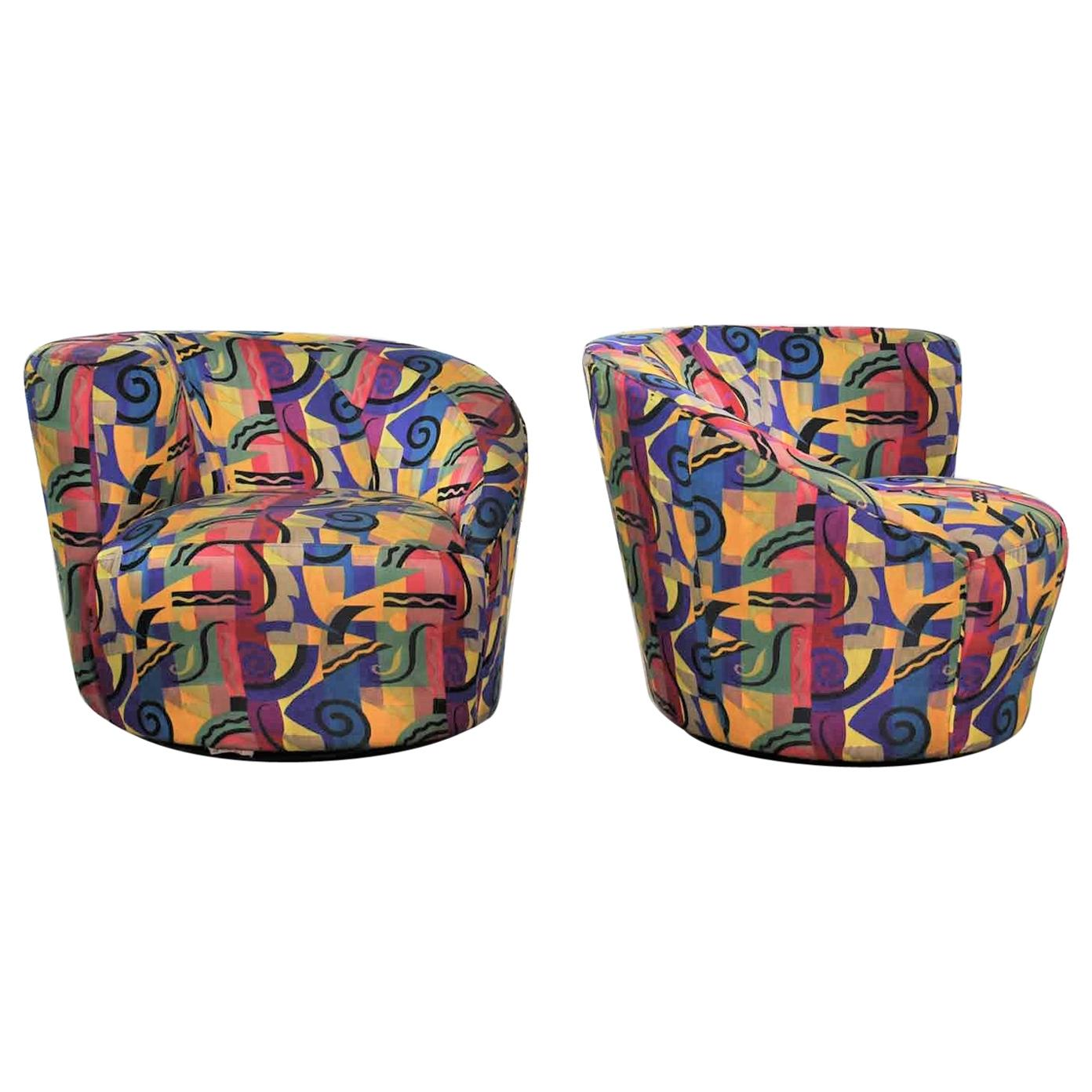 Pair of Asymmetric Nautilus Swivel Chairs
