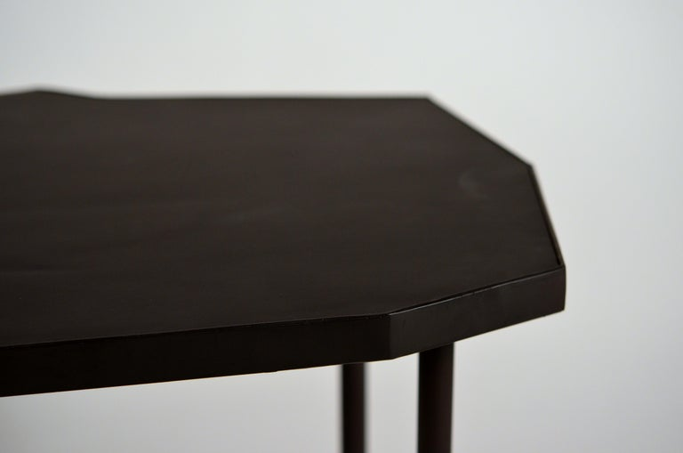 Pair of Asymmetrical 'Décagone' Black Leather Side Tables by Design Frères For Sale 2
