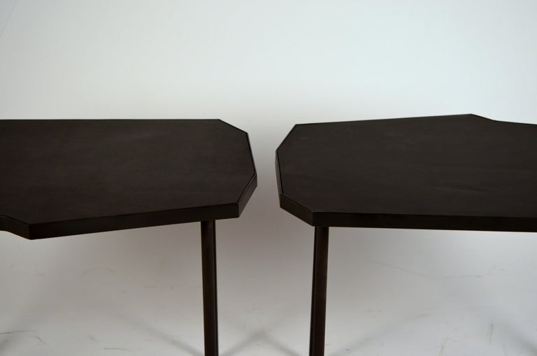 Pair of Asymmetrical 'Décagone' Black Leather Side Tables by Design Frères In New Condition For Sale In Los Angeles, CA