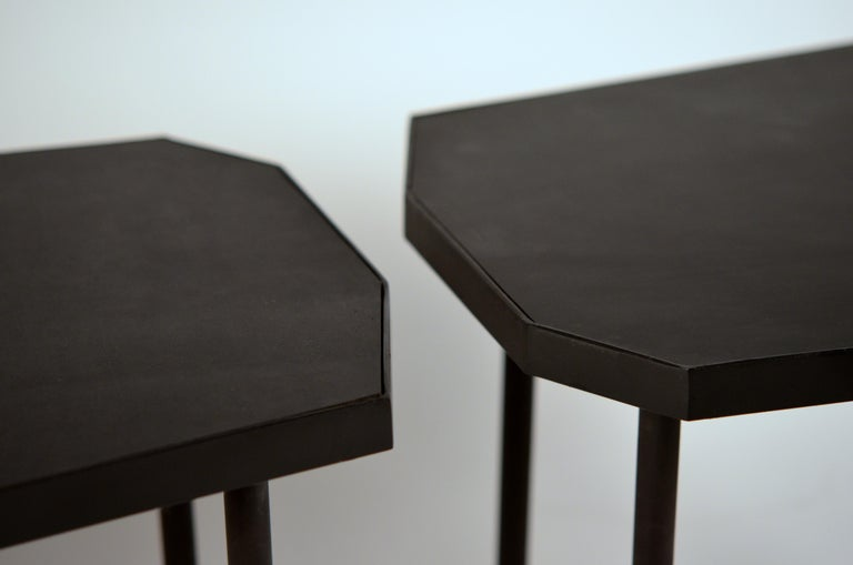 Steel Pair of Asymmetrical 'Décagone' Black Leather Side Tables by Design Frères For Sale