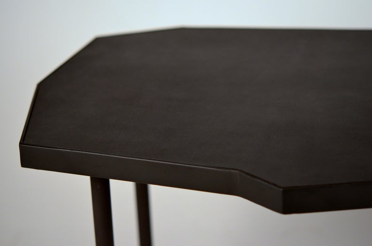 Pair of Asymmetrical 'Décagone' Black Leather Side Tables by Design Frères For Sale 1