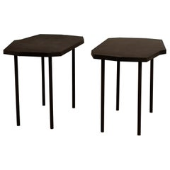 Pair of Asymmetrical 'Décagone' Black Leather Side Tables by Design Frères