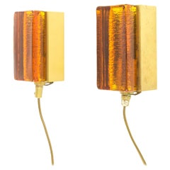 Pair of Atlantic Wall Lamps by Vitrika in Amber, 1970s