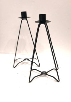 Pair of Atomic Age Metal Candle Holders