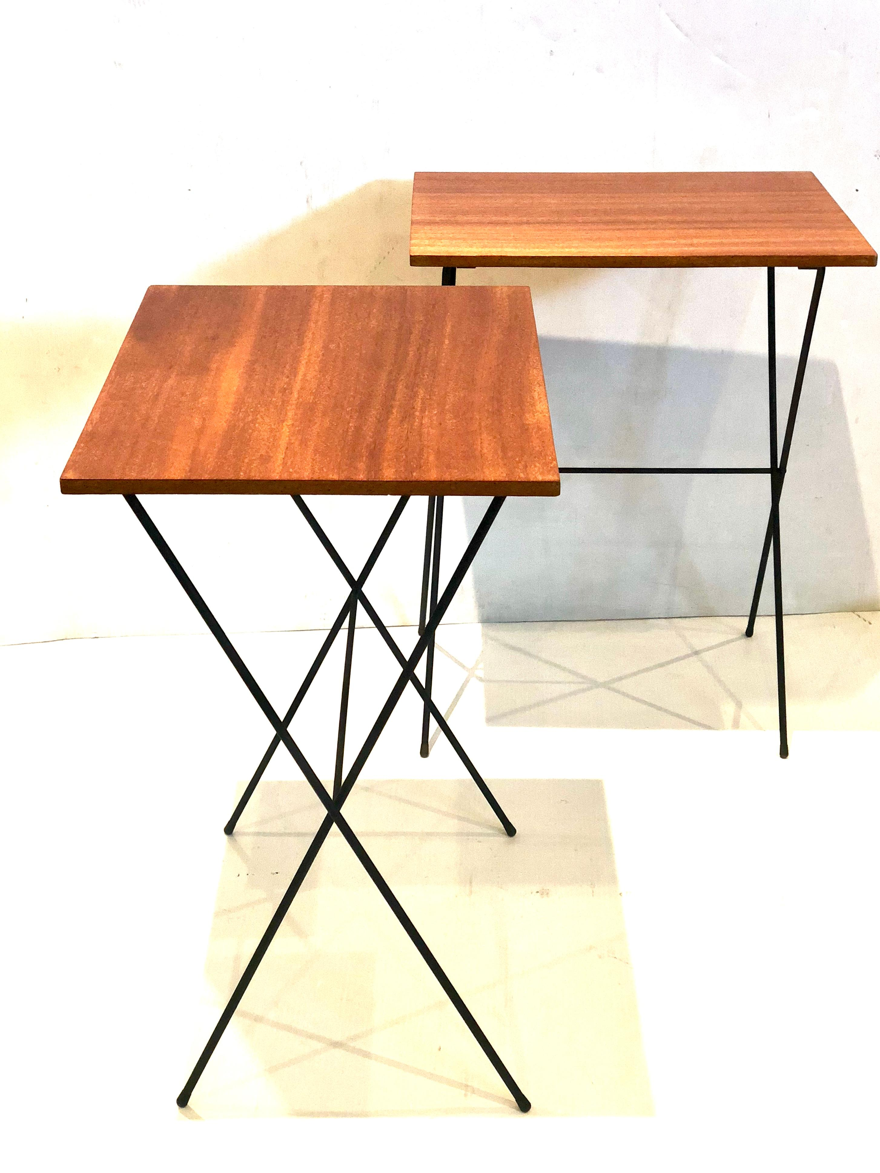 Pair Of Atomic Age Mid Century Modern Petite Folding Tv Tray Tables At 1stdibs