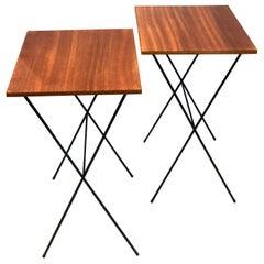 Pair of Atomic Age Mid-Century Modern Petite Folding TV Tray Tables