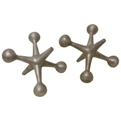 Pair of Atomic Jacks Bookends, Doorstop or Paperweight Bill Curry