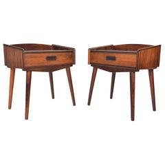 Pair of Atomic Rosewood Single Drawer Nightstands