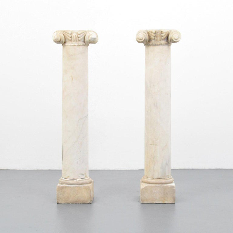 Pair of large column fragment pedestals, salvaged from a neoclassical building in Athens, probably constructed between 1860-1930.