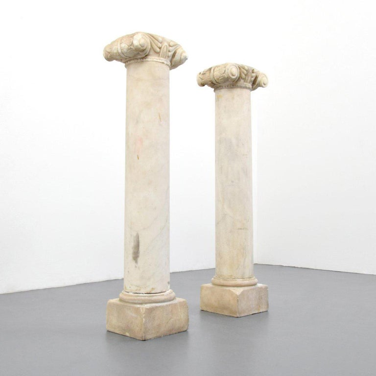 Neoclassical Pair of Attica Marble Greek Columns For Sale