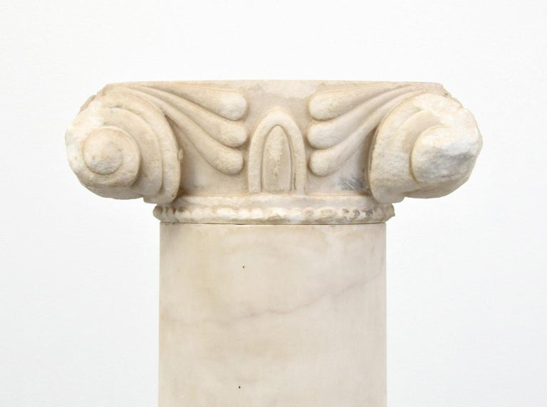 Hand-Carved Pair of Attica Marble Greek Columns For Sale