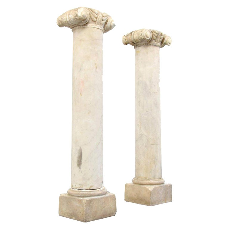 Pair of Attica Marble Greek Columns For Sale
