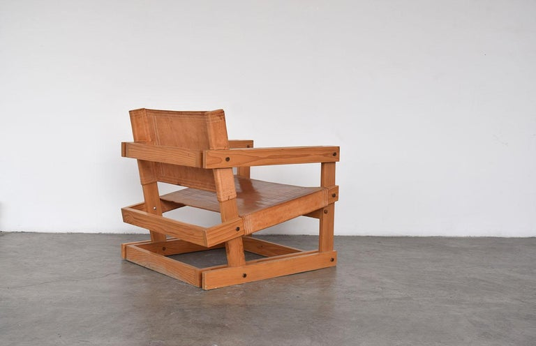 This is an original pair of lounge chairs made by the renown Mexican Architect Antonio Attolini Lack for his own house in 1985.